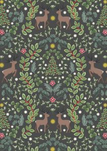 Christmas Patchwork Fabric - Noel - Reindeer Wood Coal