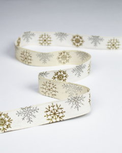 Christmas Ribbon - Glitter Snowflake Ivory - 25mm
