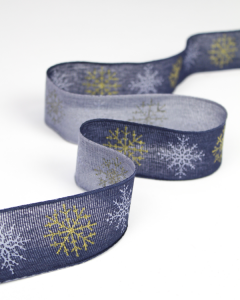 Christmas Ribbon - Glitter Snowflake Navy - 42mm