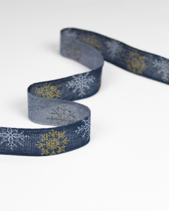 Christmas Ribbon - Glitter Snowflake Navy - 25mm