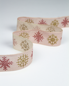 Christmas Ribbon - Glitter Snowflake Pink - 42mm
