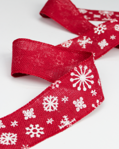 Christmas Ribbon - Hessian Snowflake Red - 65mm