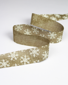 Christmas Ribbon - Jute Snowflake White - 37mm