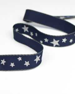 Christmas Ribbon - Midnight Star - 25mm