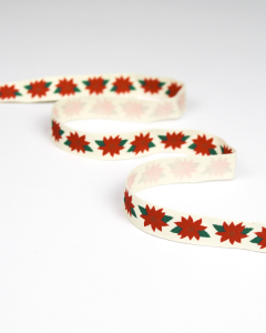 Christmas Ribbon - Poinsettia - 15mm