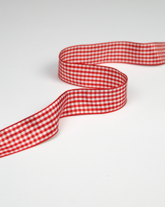 Gingham Ribbon - Red - 25mm