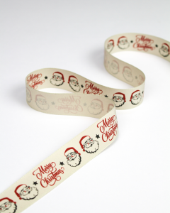 Christmas Ribbon - Retro Santa - 25mm