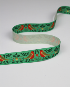 Christmas Ribbon - Robin Love Green - 25mm