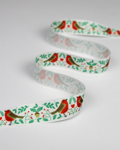 Christmas Ribbon - Robin Love White - 25mm