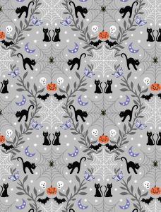 Patchwork Cotton Fabric - Castle Spooky - Cobwebs & Cats