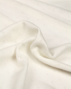 Cotton Ajour Pointelle Jersey Fabric - Ivory