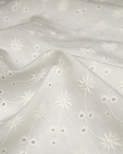 Cotton Broderie Anglaise Fabric - Edelweiss