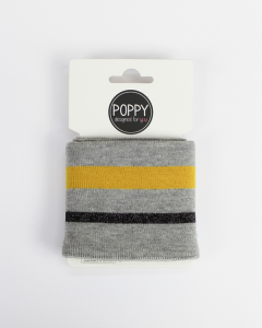 Cotton Cuffing - Lurex Stripe Grey/Mustard
