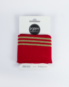 Cotton Cuffing - Lurex Stripe Gold/Red