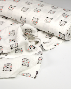 Organic Cotton Double Gauze Fabric - Bear Faced