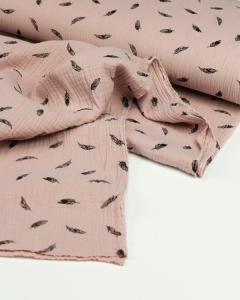Cotton Double Gauze Fabric - Feather Quill Tea Rose
