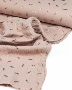Cotton Double Gauze Fabric - Foil Feather Tea Rose