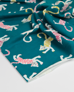 Cotton French Terry Fabric - Friendly Tiger Teal