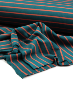 Stripe Cotton French Terry Fabric - Rust on Teal