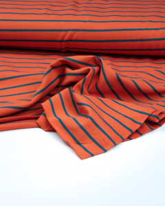 Stripe Cotton French Terry Fabric - Teal on Rust