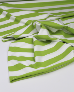 Cotton Jersey Fabric - Chunky Stripe Lime