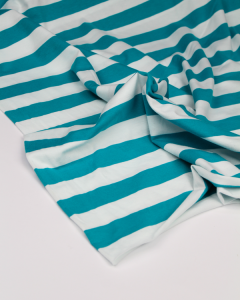 Cotton Jersey Fabric - Chunky Stripe Turquoise