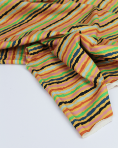 Cotton Jersey Fabric - Crayon Stripe