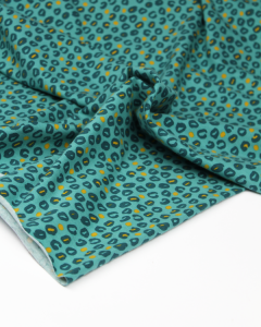 Cotton Jersey Fabric - Fierce Leopard Teal