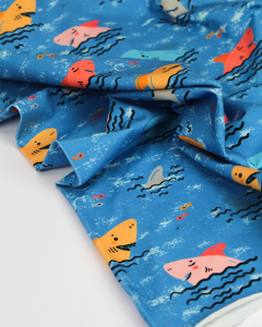 Cotton Jersey Fabric - Shark Bite
