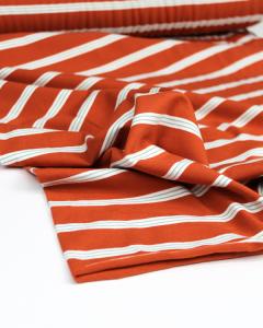 Cotton Jersey Fabric - Triple Stripe Brick