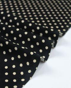 Cotton Needlecord Fabric - Black Polka