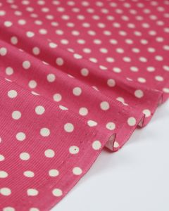 Cotton Needlecord Fabric - Hot Pink Polka