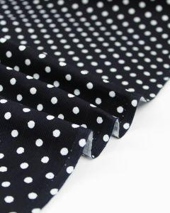Cotton Needlecord Fabric - Dark Navy Polka