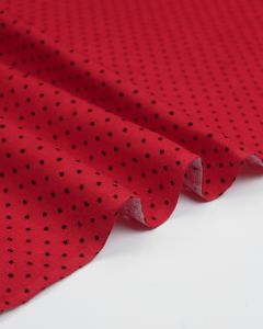 Cotton Needlecord Fabric - Red Pinspot