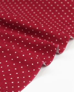 Cotton Needlecord Fabric - Cherry Pinspot