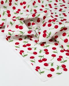 Cotton Poplin Fabric - Cherry Drop White