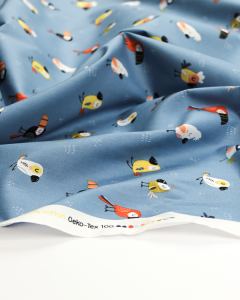 Cotton Poplin Fabric - Lazy Birds