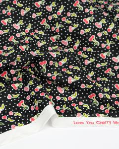 Cotton Poplin Fabric - Love You Cherry Much Black
