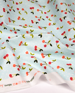 Cotton Poplin Fabric - Love You Cherry Much Aqua