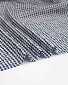 Cotton Seersucker Fabric - Navy Gingham