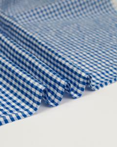 Cotton Seersucker Fabric - Royal Blue Gingham