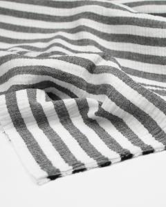 Double Gauze Fabric - Liquorice Stripe