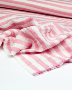 Double Gauze Fabric - Strawberry Stripe