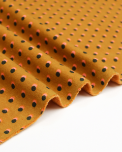 Sweatshirt Fleece Fabric - Double Dot Ochre