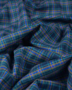 Brushed Cotton Fabric - Navy & Green Plaid