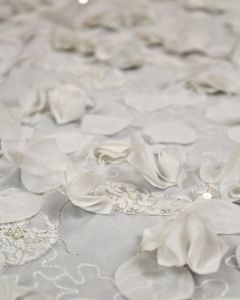 Embellished Georgette Fabric - Ivory