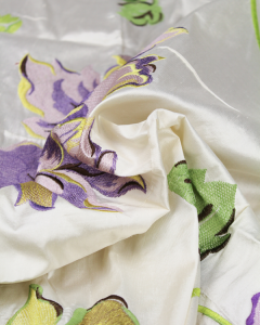 REMNANT Embroidered Silk Dupion Fabric - 130cm x 130cm