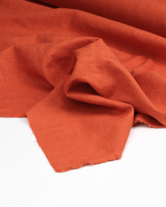 Enzyme Washed Linen Fabric - Persimmon