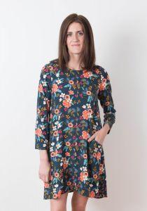 Model wearing long-sleeve view of Grainline Studio Farrow Dress