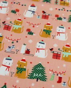 REMNANT Christmas Cats Cotton Fabric - 270cm x 112cm